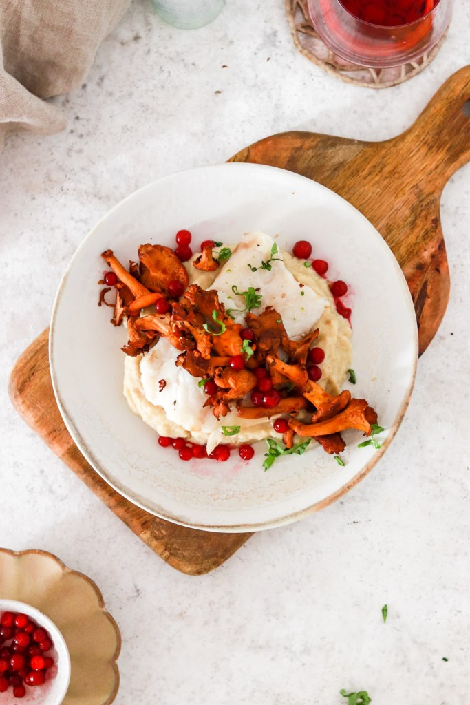 Baked Cod with Chanterelles & Lingonberries (Gluten, Grain Free & Low Carb) From Above