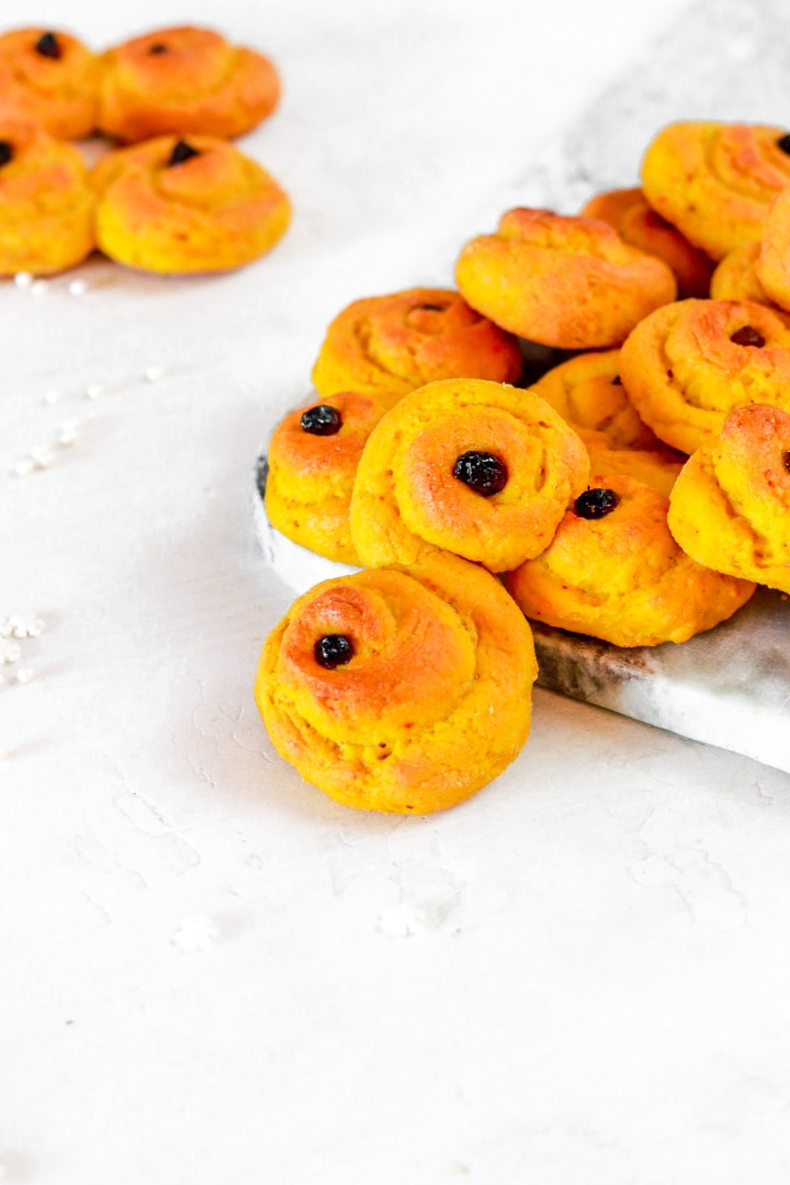 Lussebullar/Saffron Buns (Gluten & Sugar Free, Lower in Fat)