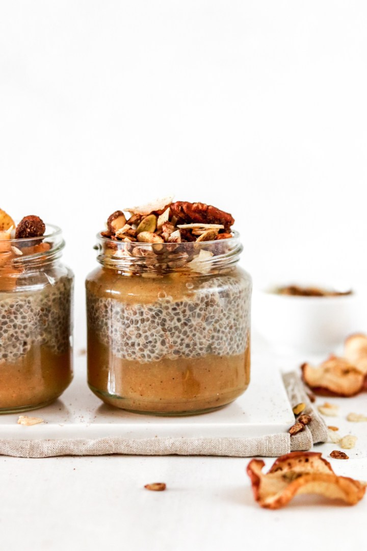 Spiced Chia Pudding with Apple Sauce & Gingerbread Granola (Vegan & Sugar Free)