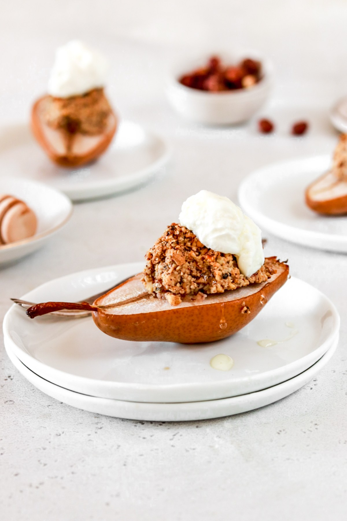 Granola & Nut Stuffed Baked Pears From Front