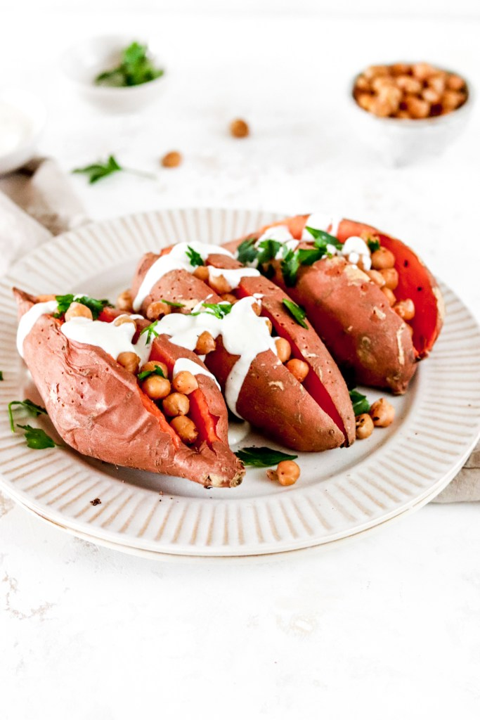 Baked Sweet Potato with Chickpeas and Yogurt/Tahini Dressing