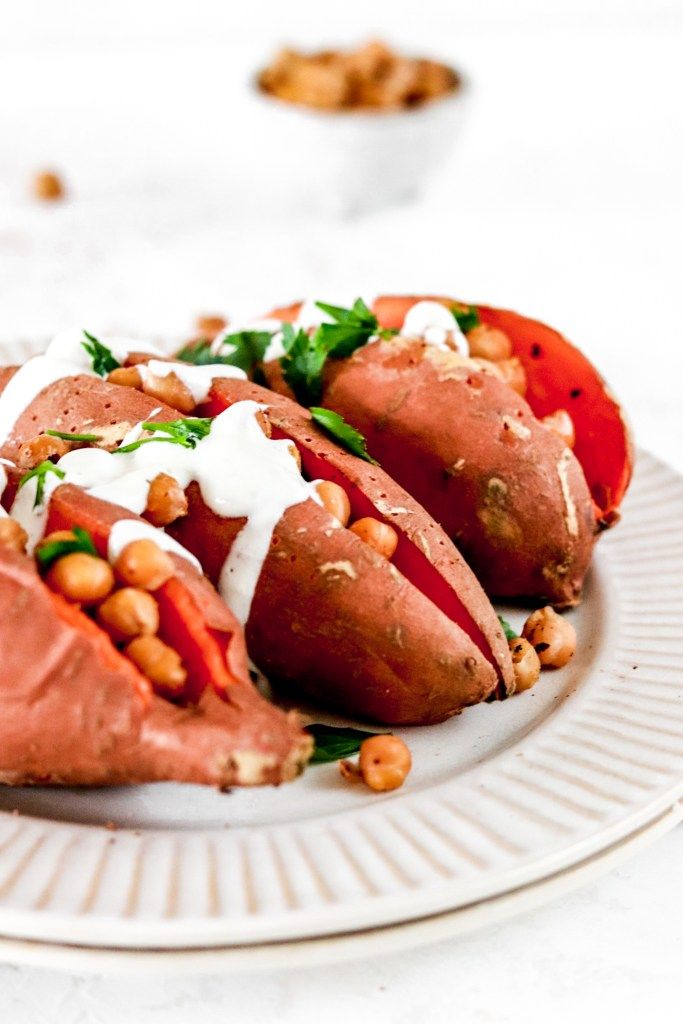 Baked Sweet Potato with Chickpeas and Yogurt/Tahini Dressing Close Up