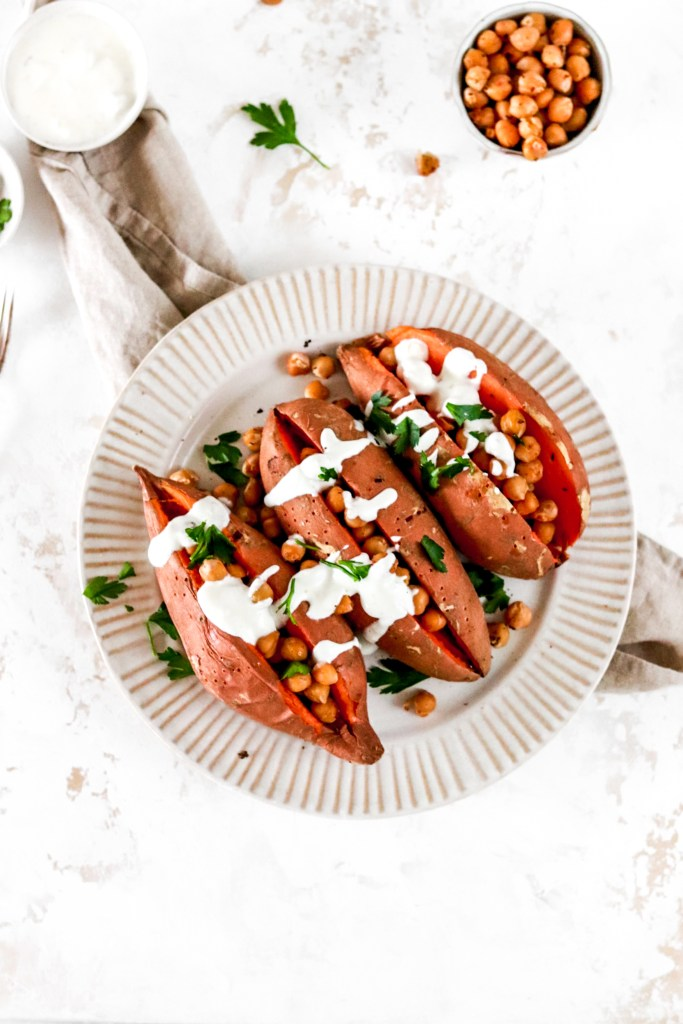 Baked Sweet Potatoes with Pan Roasted  Chickpeas and Yoghurt Tahini Dressing from above