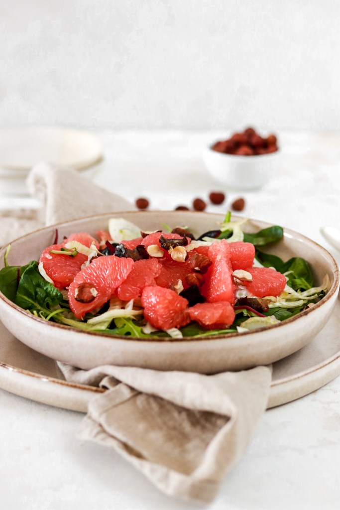 Grapefruit Salad with Shaved Fennel, Dates & Hazelnuts From Front