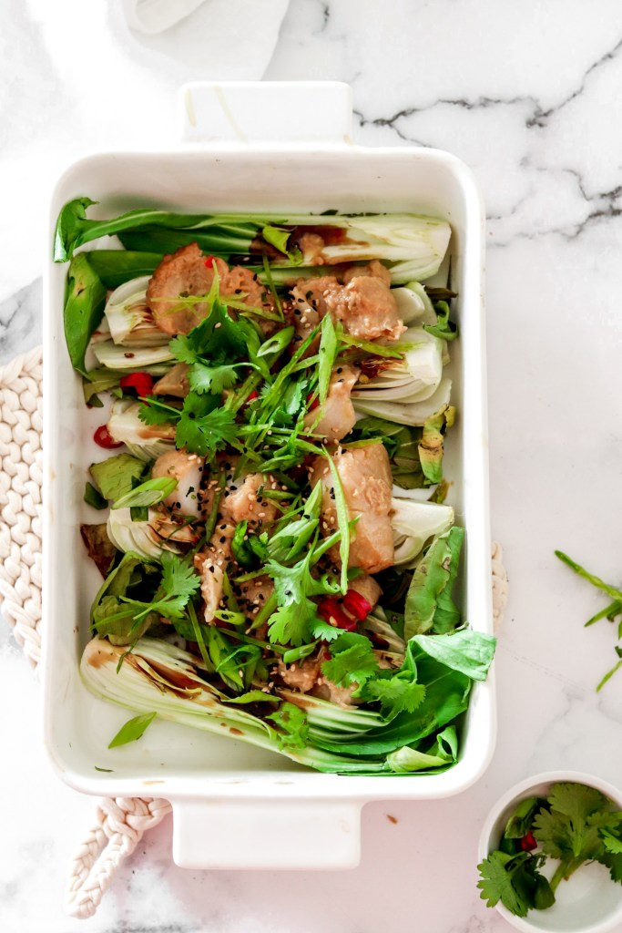 Miso Fish with Bok Choy (Gluten Free, Low Carb) From Above