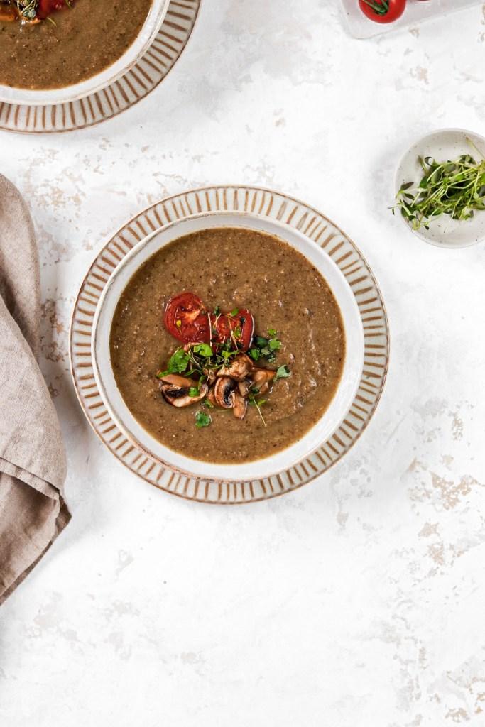 Roasted Cauliflower & Mushroom Soup (Vegan, Paleo & Gluten Free) From Above