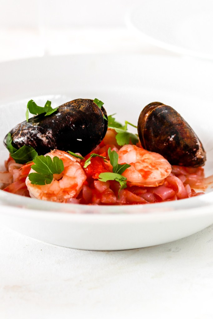 Seafood Pasta (Gluten & Dairy Free, Low Carb) From Front On A Plate