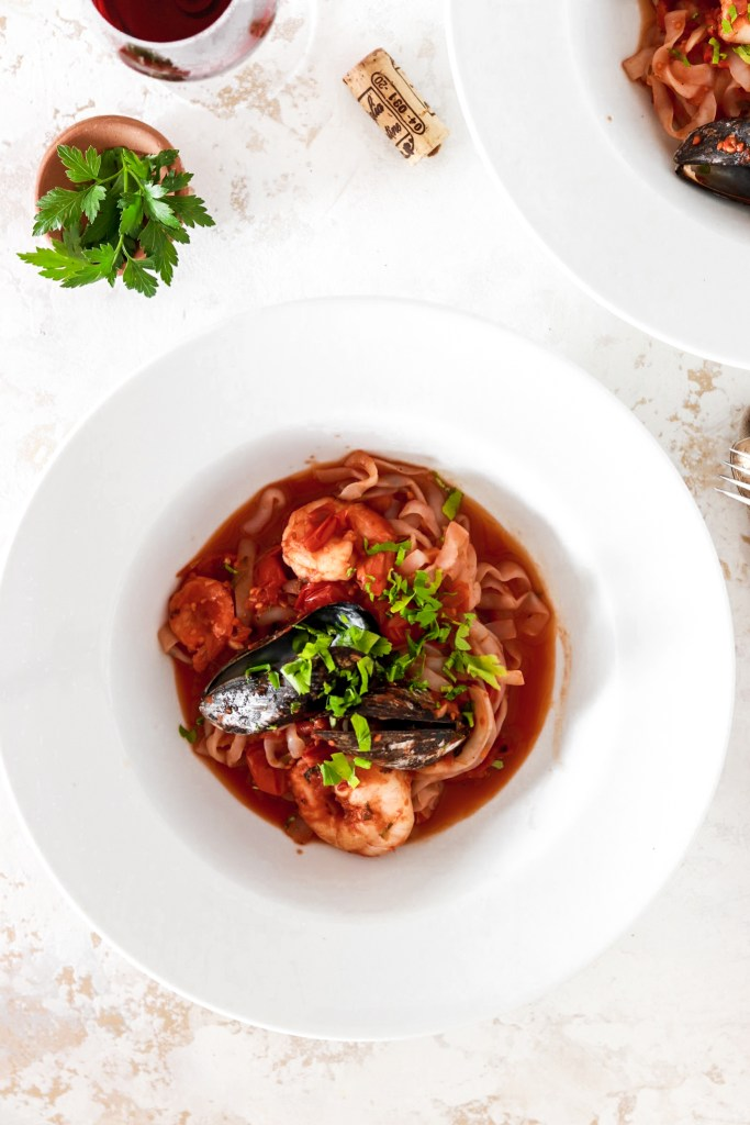 Seafood Pasta in a bowl From Above