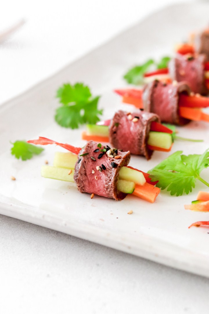 Beef Tataki Appetizer Rolls (Low Carb) From Close Up