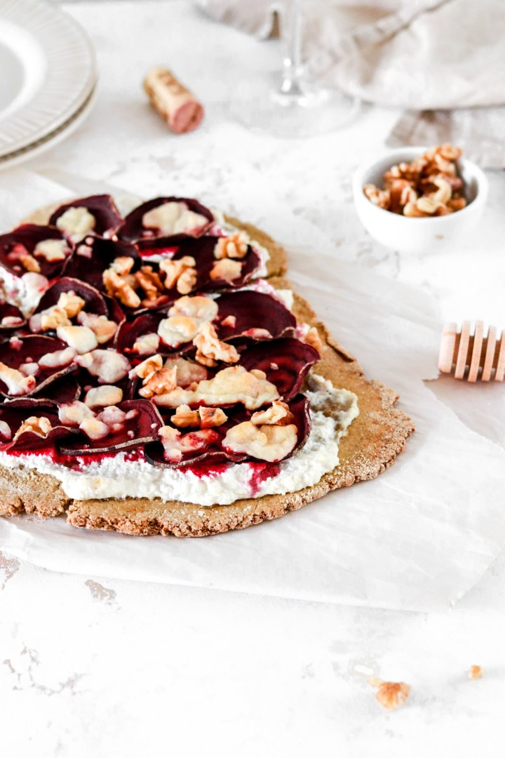 Ricotta, Beetroot & Goat Cheese Flatbread Pizza (Gluten Free)