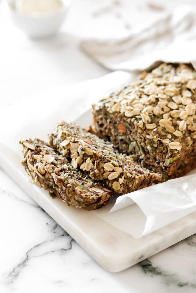 Easy Nut & Seed Bread (Vegan & Gluten Free) From Side Cut