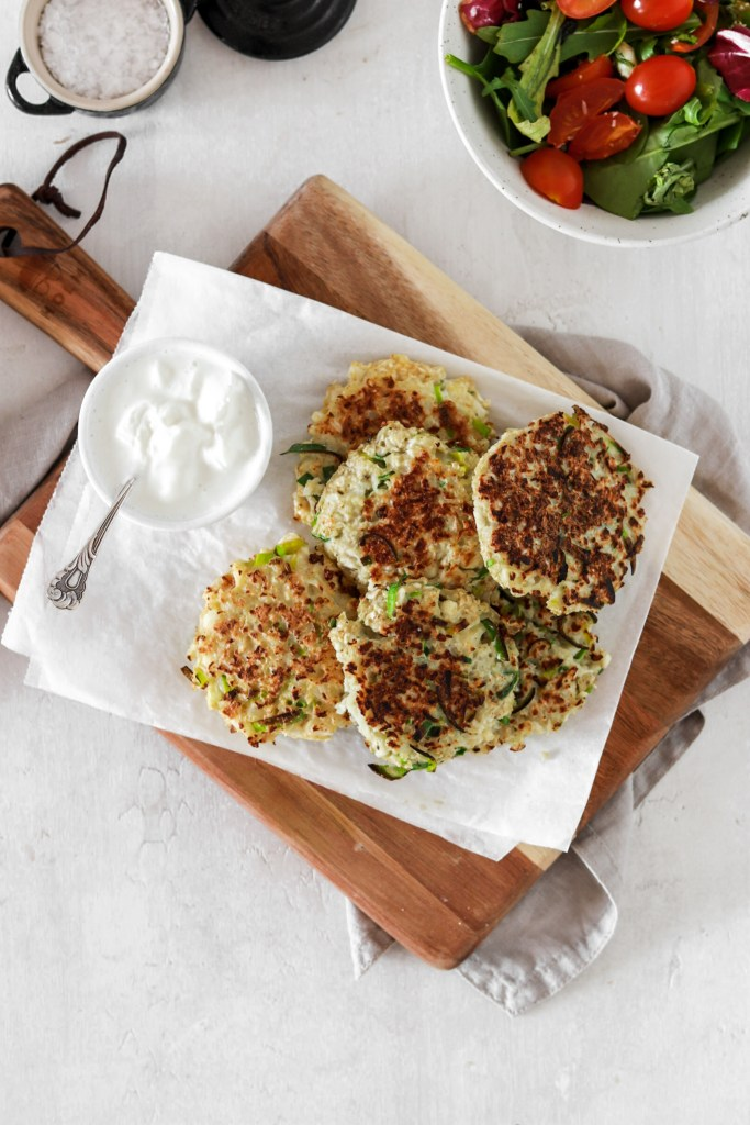 Cauliflower & Leek Fritters (Gluten & Grain Free, Low Carb) From Above