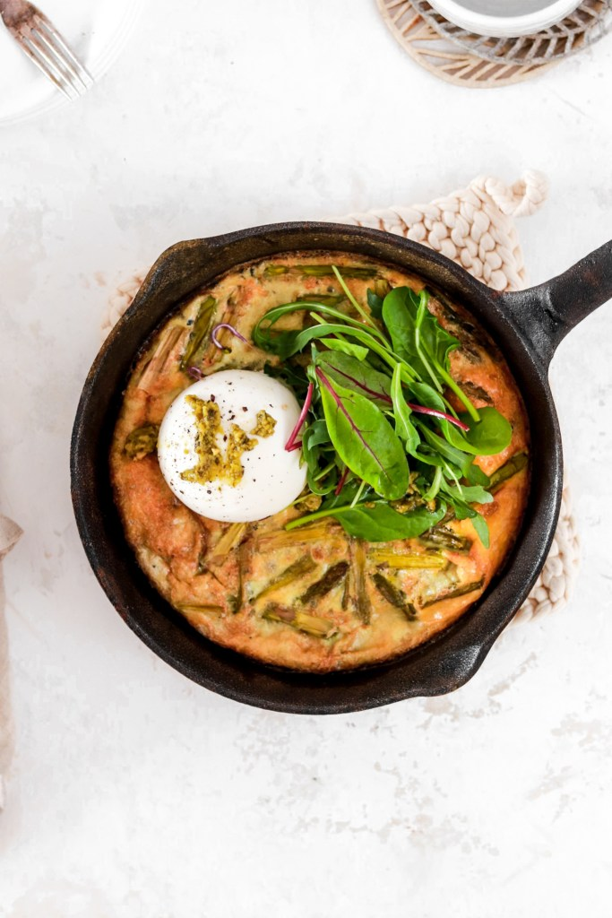 Asparagus Frittata with Pesto & Burrata (Gluten Free & Low Carb) In Frying Pan From Above