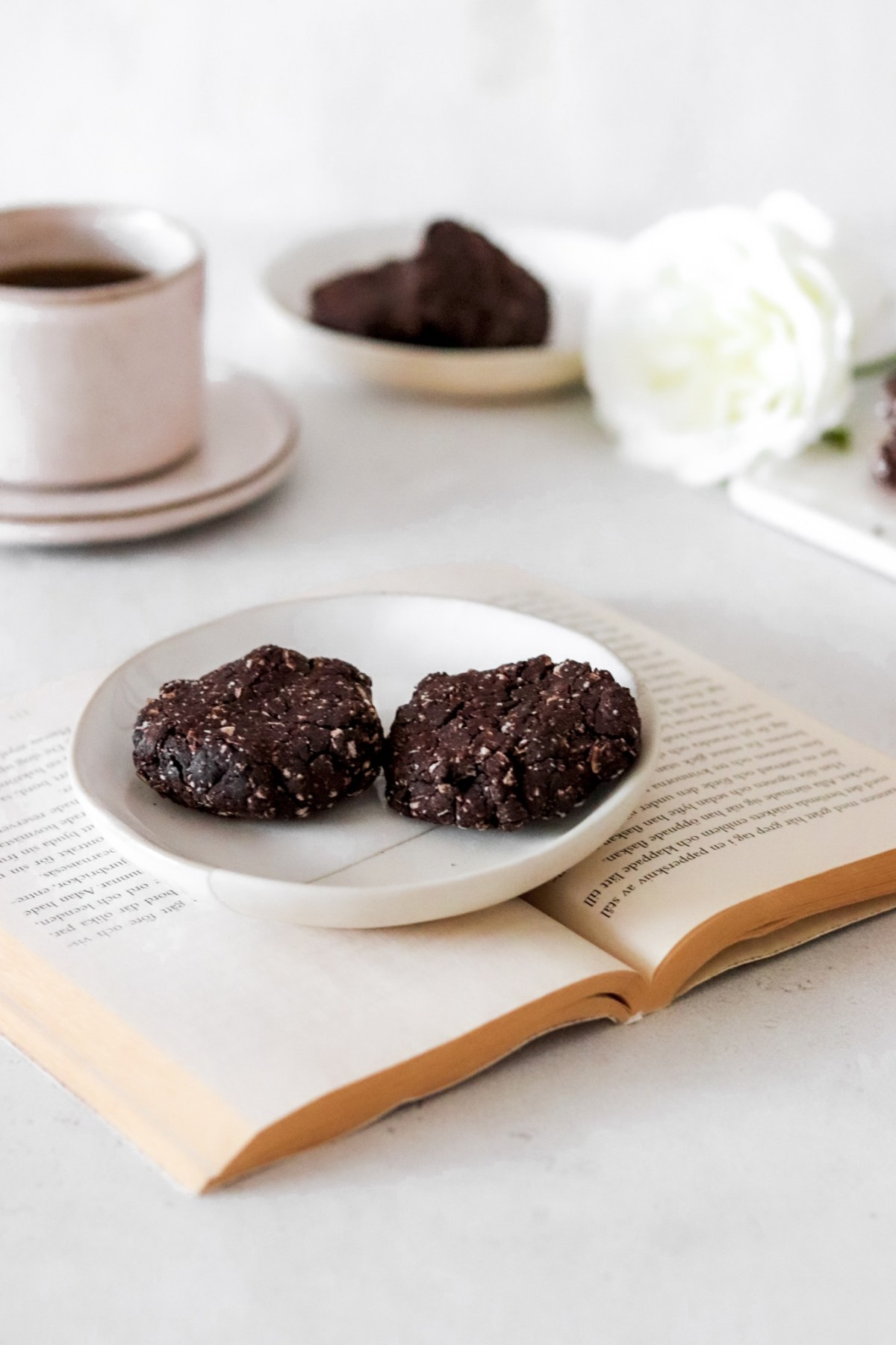 Chocolate & Tahini Cookies (Gluten, Dairy, Sugar & Oil Free) On a Plate