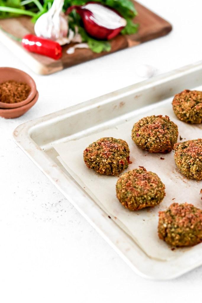 Healthy Falafel (Oven Baked) On a Baking Sheet