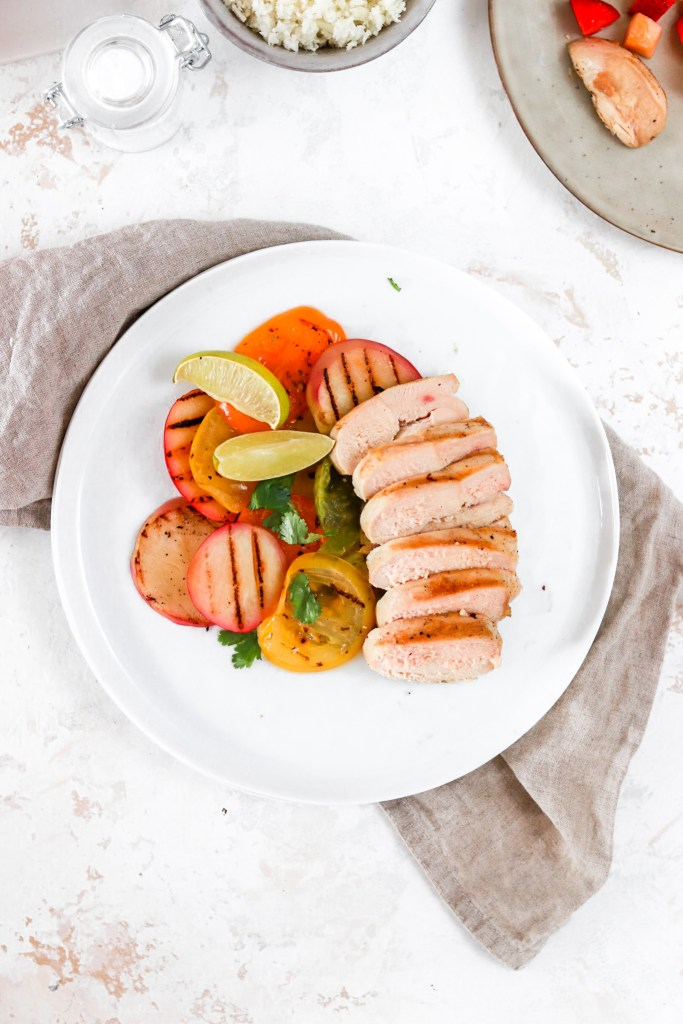 Chicken with Grilled Heirloom Tomatoes & Peaches (Gluten, Dairy, Grain Free & Low Carb) From Above