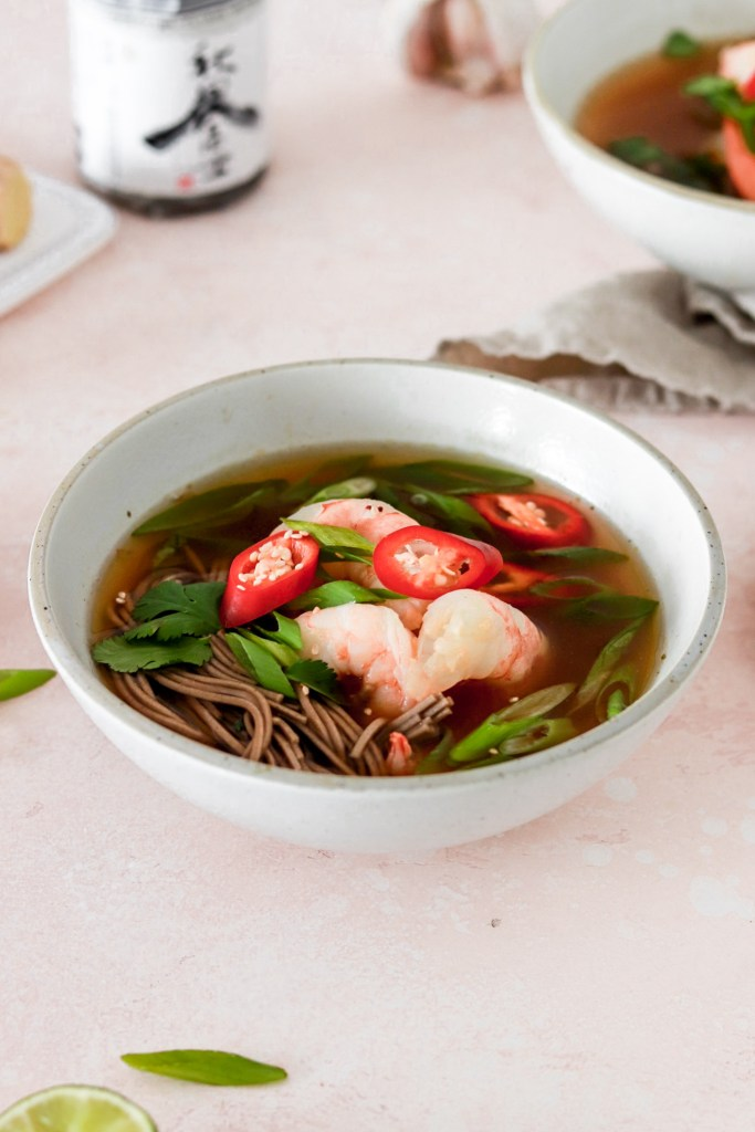 Japanese Ginger & Lemongrass Soup with Soba Noodles (Gluten & Dairy Free) From Front