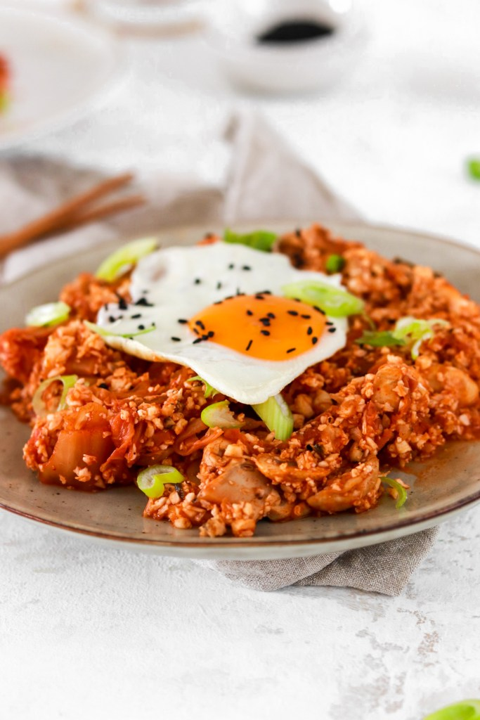Kimchi Fried Cauliflower Rice (Vegan, Gluten, Grain Free, Low Carb) From Close Up