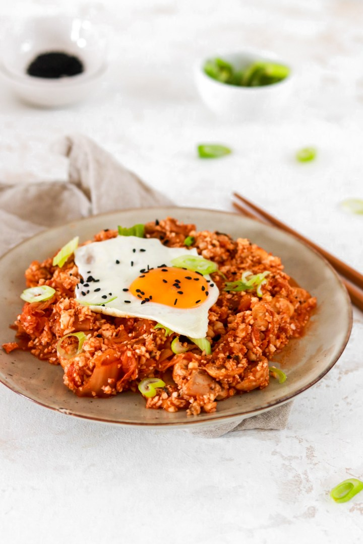 Kimchi Fried Cauliflower Rice (Gluten, Grain, Dairy Free, Low Carb)