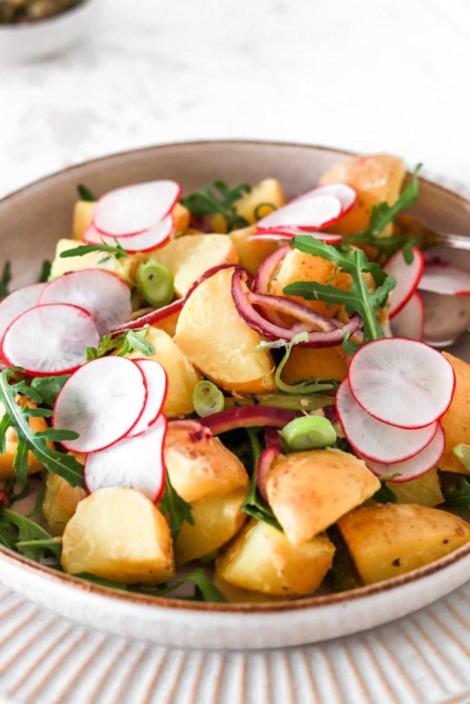Potato Salad with Dijon Vinaigrette (Vegan, Gluten & Dairy Free) Close Up In Bowl