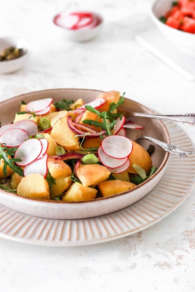 Potato Salad with Dijon Vinaigrette (Vegan, Gluten & Dairy Free) From Front