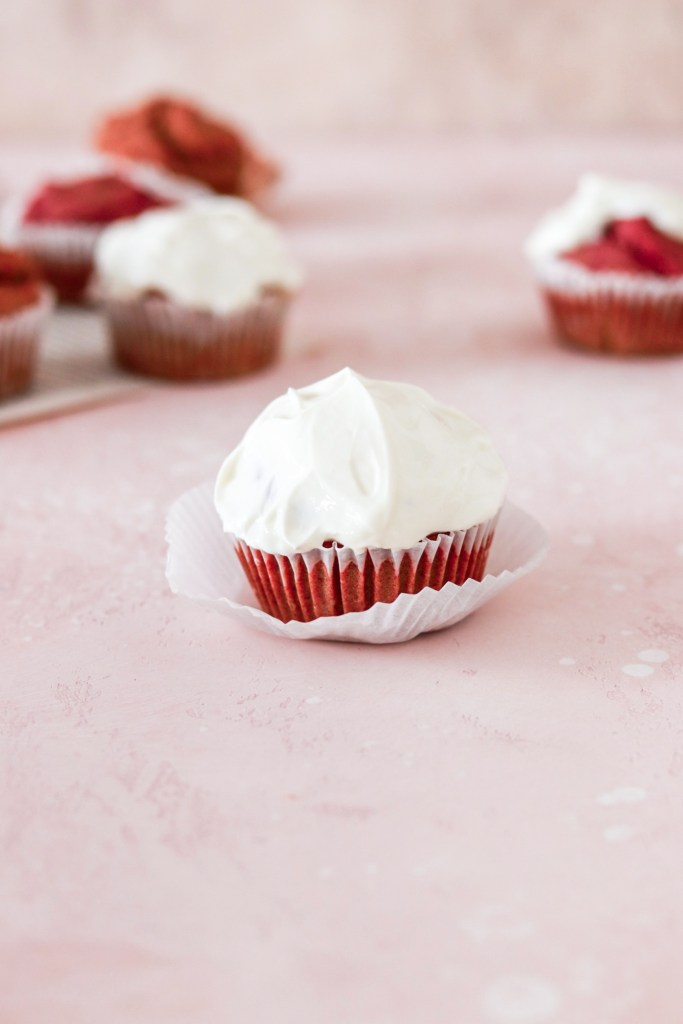 Red Velvet Cupcakes with Cream Cheese Frosting (Vegan, Gluten & Sugar Free) From Front Close Up