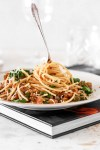 Salsiccia Pasta with Capers (Gluten Free) On A Fork Close Up
