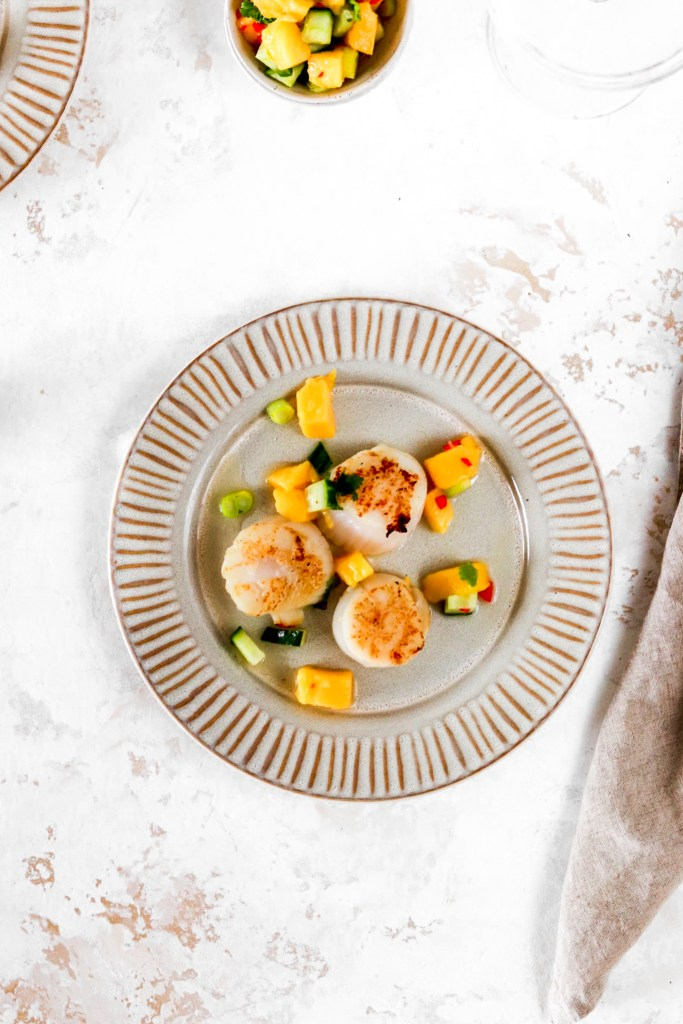 Scallops with Spicy Mango Salsa On Plate from Above