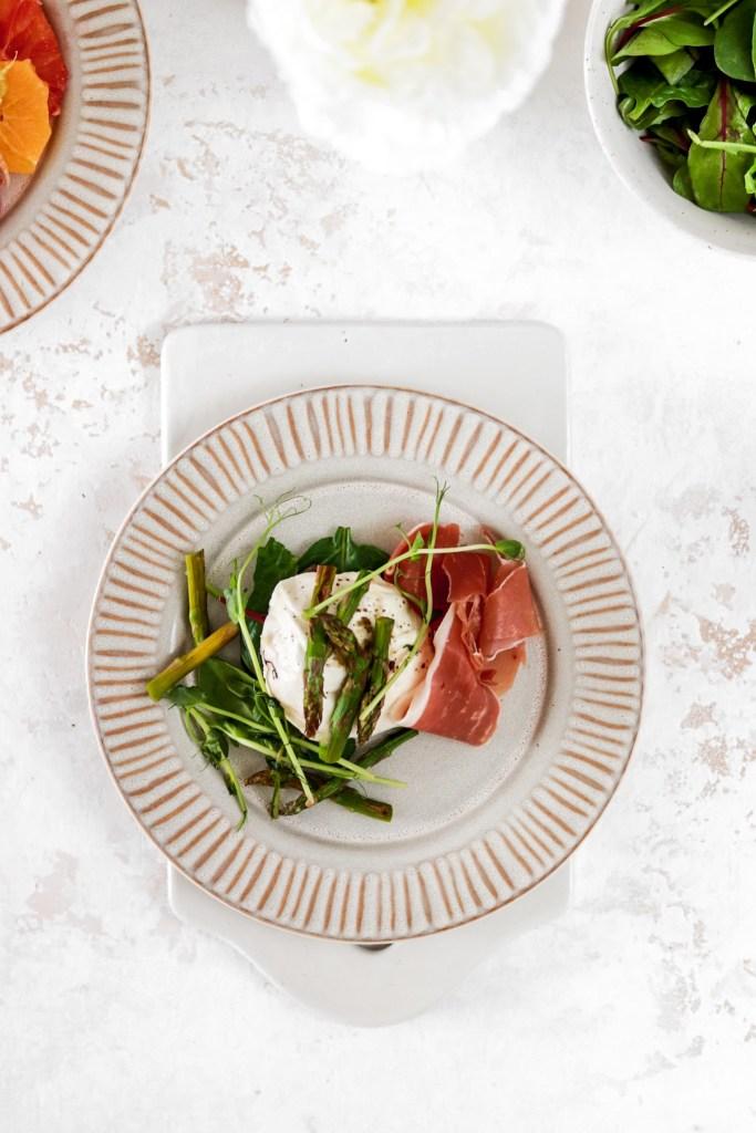 Asparagus, Prosciutto & Mozzarella (Gluten, Grain Free & Low Carb) From Above