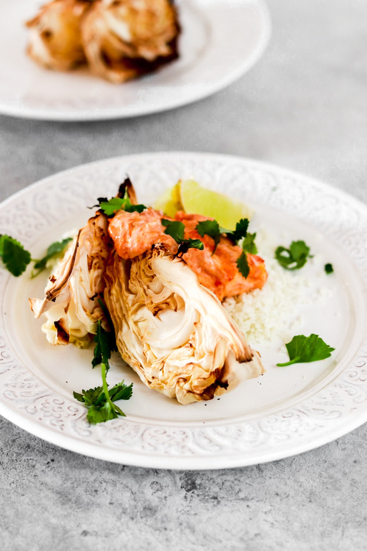 Glazed Point Cabbage with Spicy Dressing (Vegan, Gluten & Sugar Free) From front On A Plate