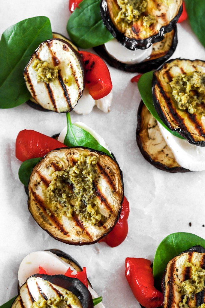 Grilled Vegetable Bites with Mozzarella & Pesto (Gluten, Grain Free & Low Carb) From Above