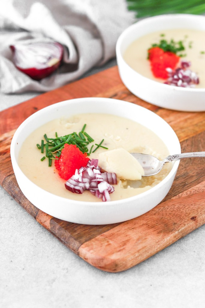 Västerbotten Cheese Pannacotta (Gluten Free & Low Carb) From Front On A Spoon