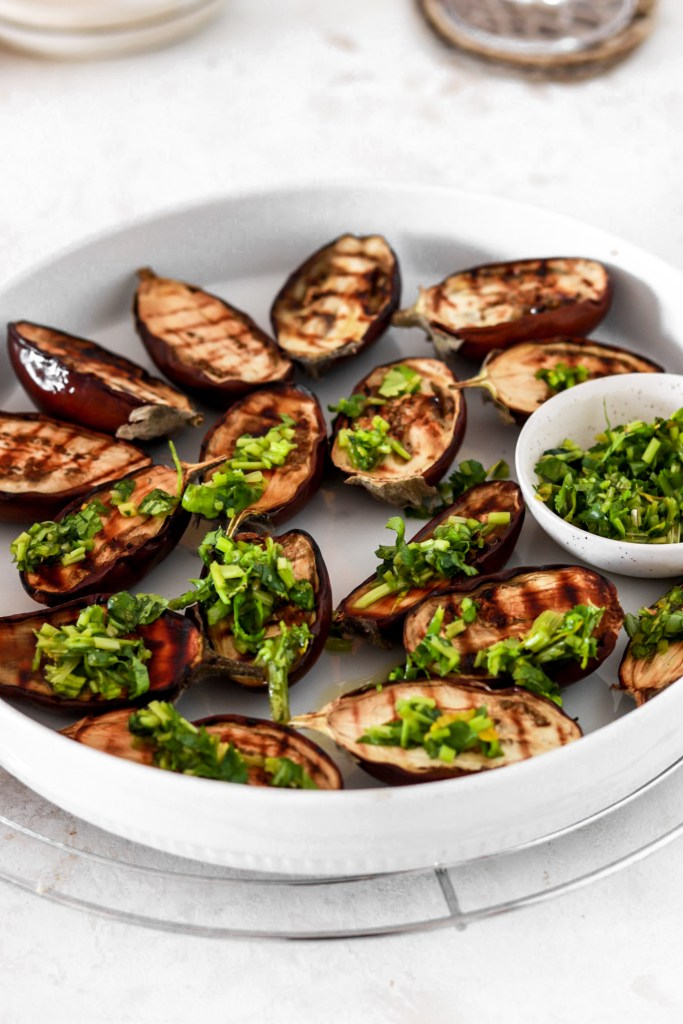 Grilled Mini Aubergines with Herb Gremolata (Vegetarian, Gluten, Grain Free & Low Carb) From Front