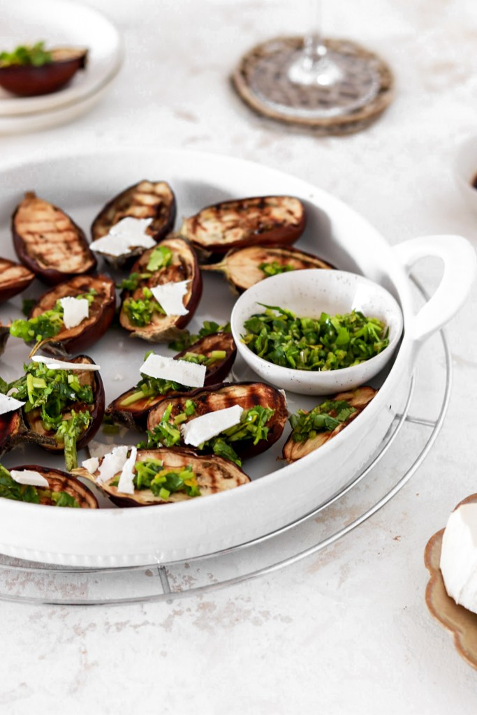 Grilled Mini Aubergines with Herb Gremolata (Vegetarian, Gluten, Grain Free & Low Carb) From Front In Pan