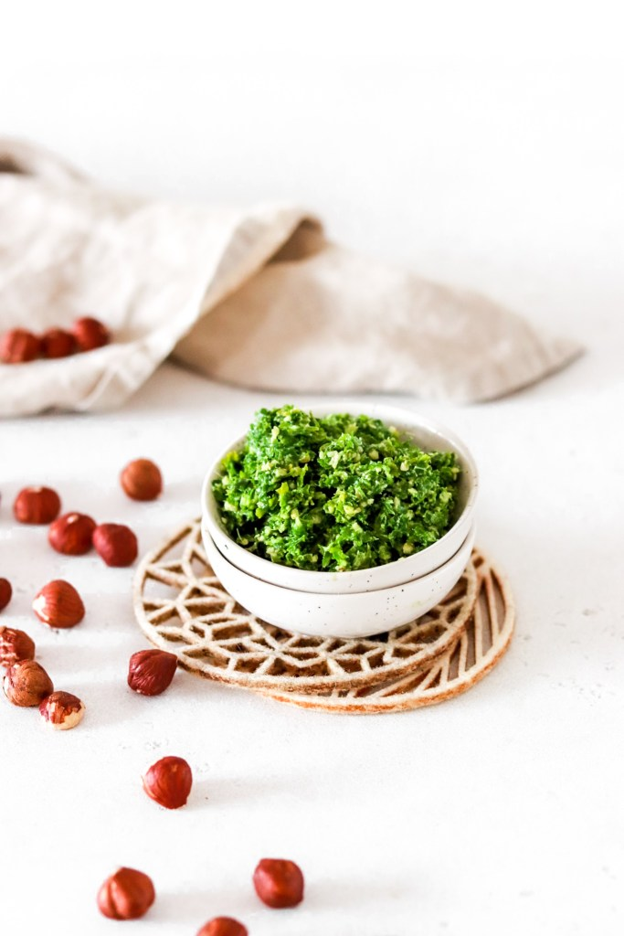 Hazelnut & Parsley Pesto (Gluten, Grain Free & Low Carb) From Front In A Bowl