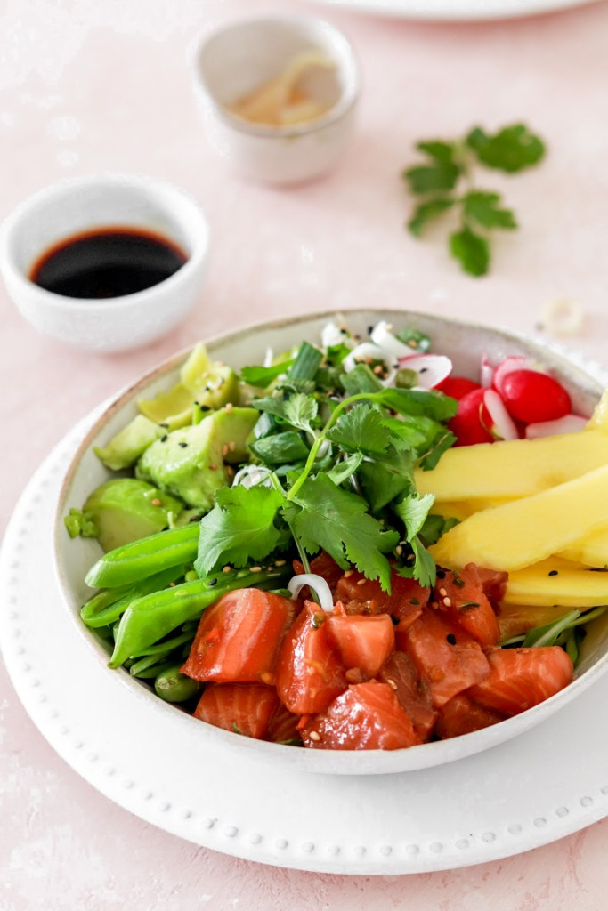 Spicy Salmon Poké Bowl (Gluten, Grain, Dairy Free & Low Carb) From Front Close Up