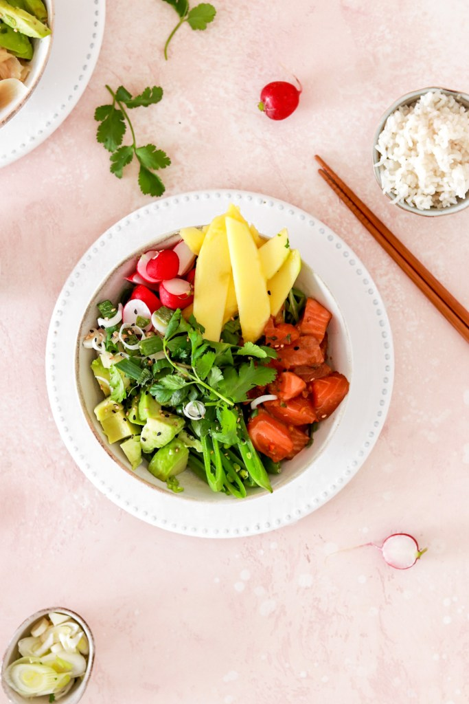 Spicy Salmon Poké Bowl (Gluten, Grain, Dairy Free & Low Carb) From Above In a Bowl