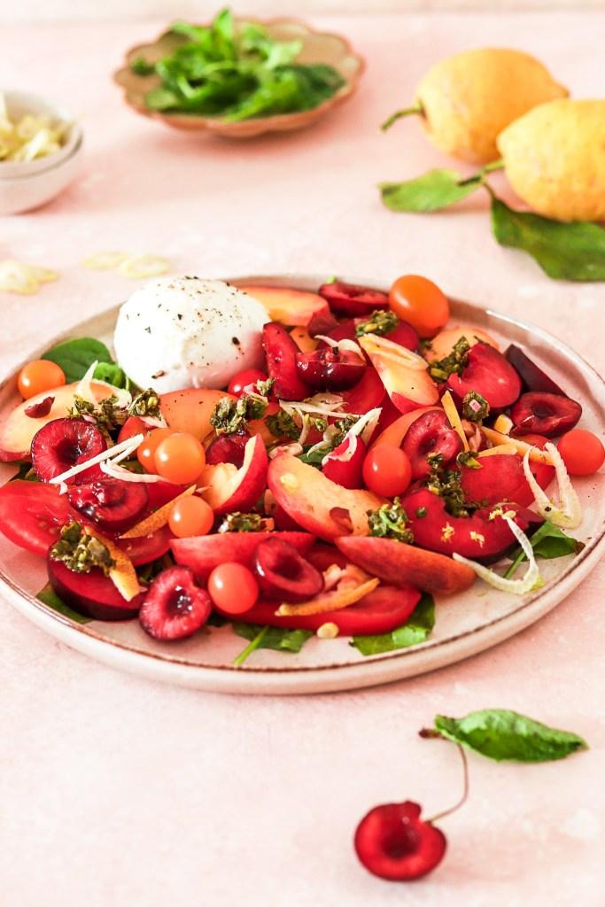 Burrata & Stone Fruit Salad (Vegetarian, Gluten & Grain Free) From Front