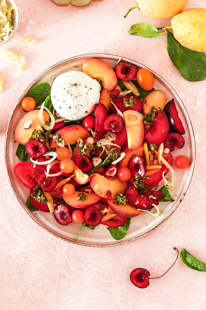 Burrata & Stone Fruit Salad (Vegetarian, Gluten & Grain Free)