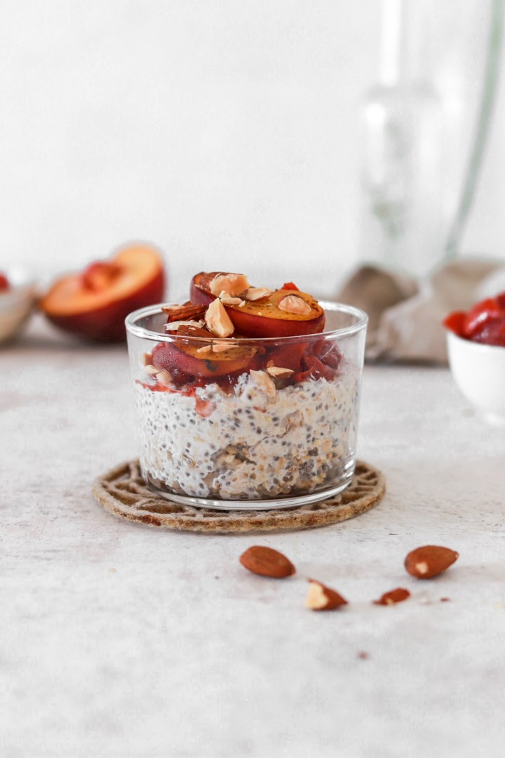 Overnight Chia Oats with Peach Sauce (Gluten & Sugar Free) From Front