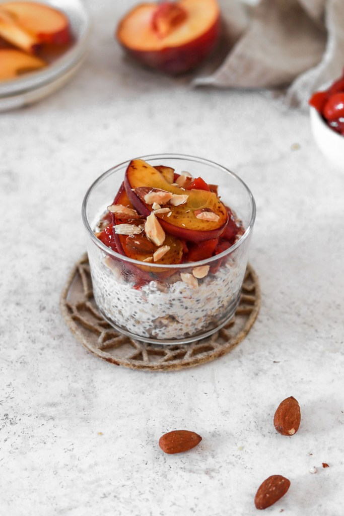 Overnight Chia Oats with Peach Sauce (Gluten & Sugar Free) In A Glass