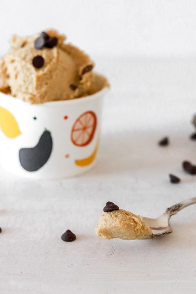 Edible Cookie Dough (Vegan, Gluten & Sugar Free) On a Spoon