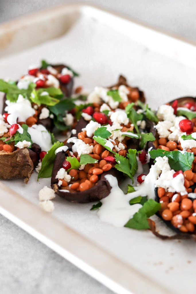 Roasted Eggplant/Aubergine with Lentils & Feta Cheese (Vegetarian & Gluten Free) From Front Close Up