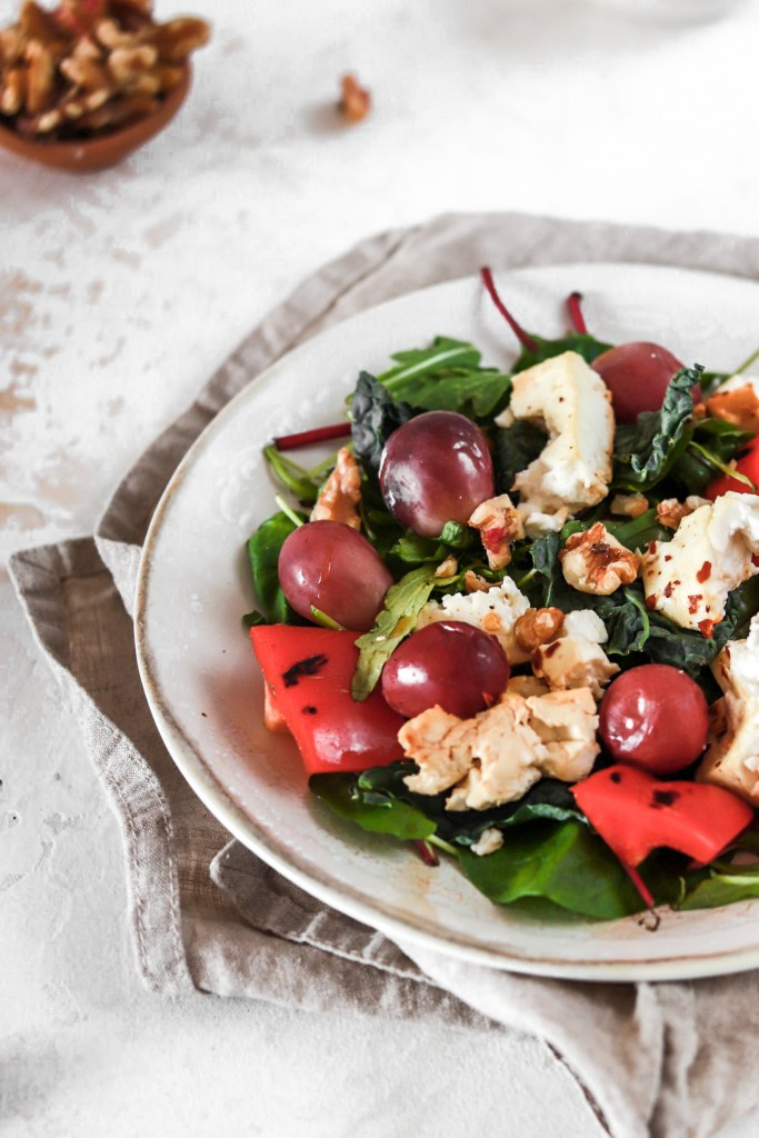 Baked Feta Cheese and Grape Salad (Gluten, Grain Free & Low Carb) From Front Close Up