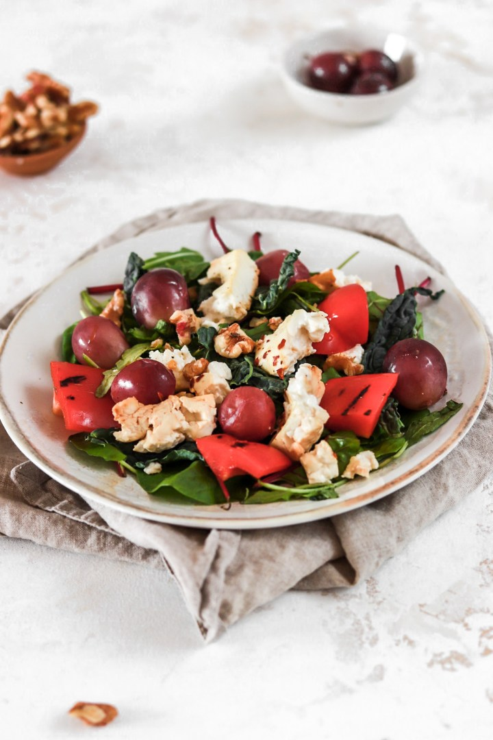 Baked Feta Cheese and Grape Salad (Vegetarian, Gluten, Grain Free & Low Carb)