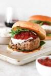 Hamburger with Goat Cheese Cream & Plum Chutney (Gluten Free) Close Up
