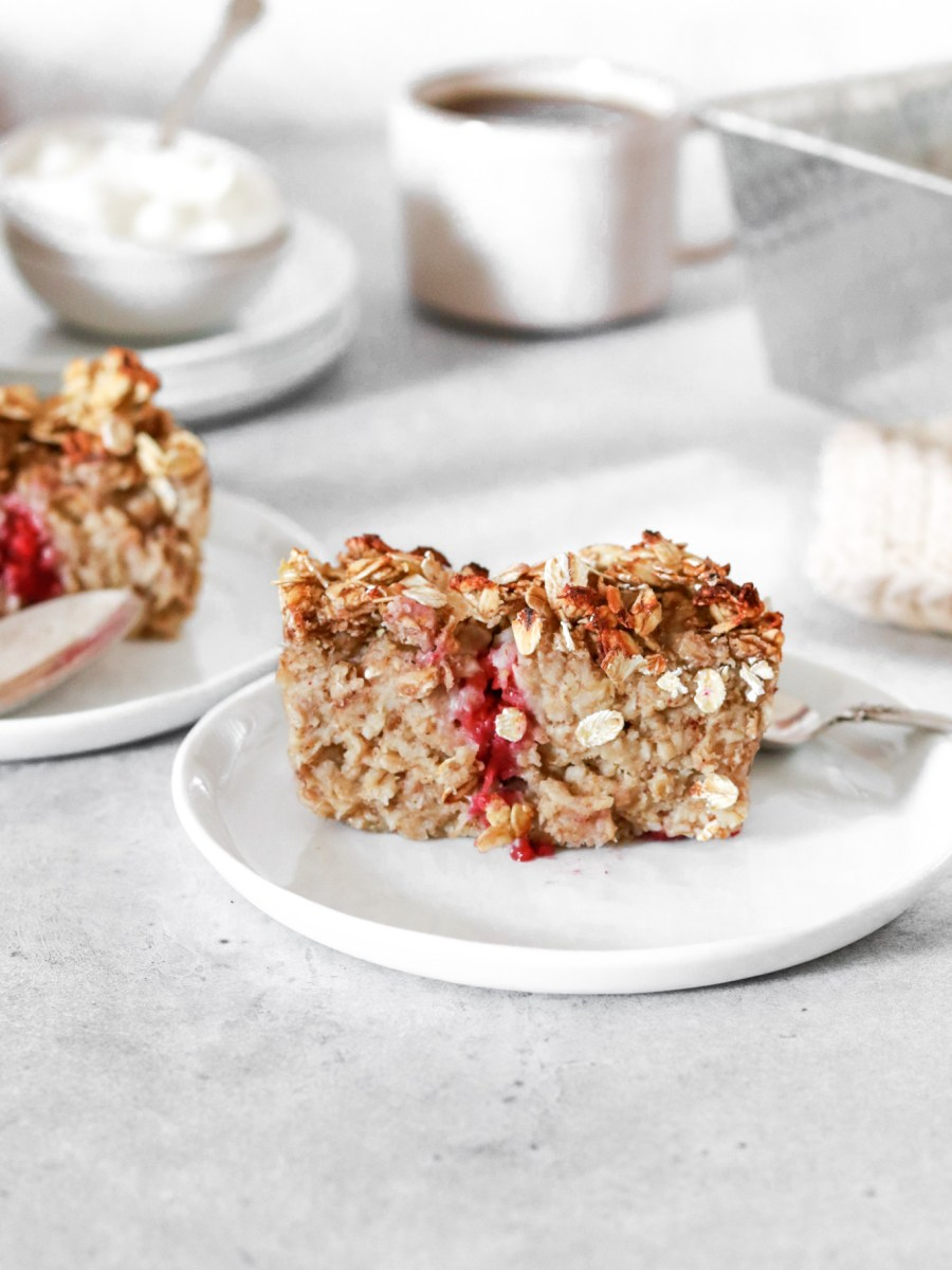 Cardamom & Berry Baked Oatmeal (Vegan, Gluten & Sugar Free) From Front