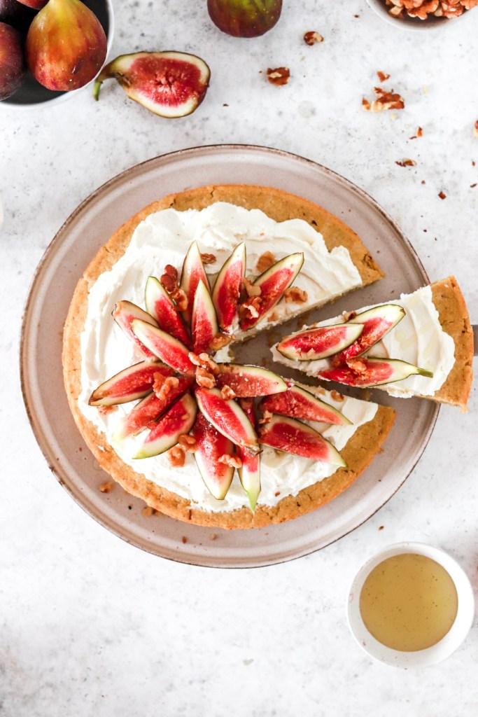 Polenta Cake with Mascarpone Cream & Figs (Gluten, Egg & Sugar Free) From Above