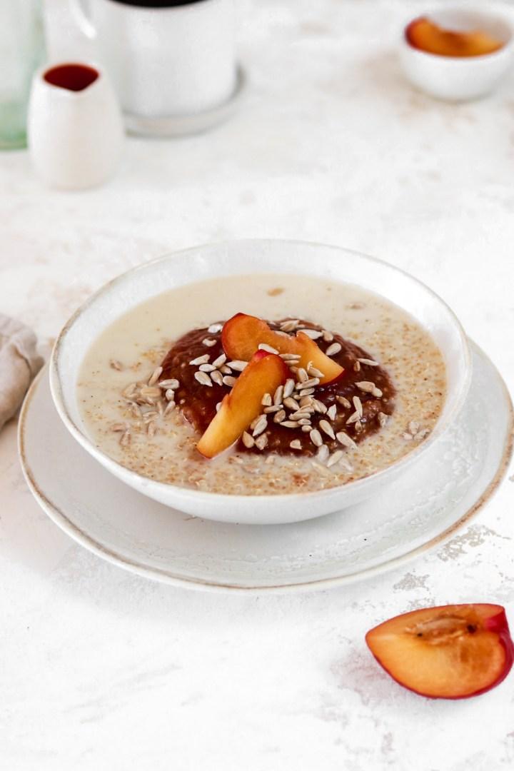 Quinoa Porridge with Plum Compote (Vegan, Gluten & Sugar Free)