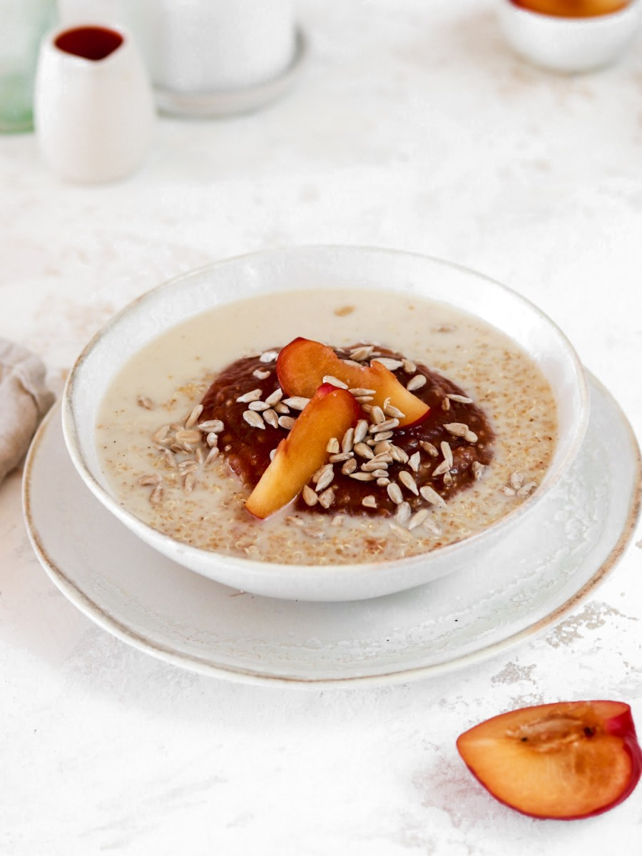 Quinoa Porridge with Plum Compote (Vegan, Gluten, Grain & Sugar Free) From Front